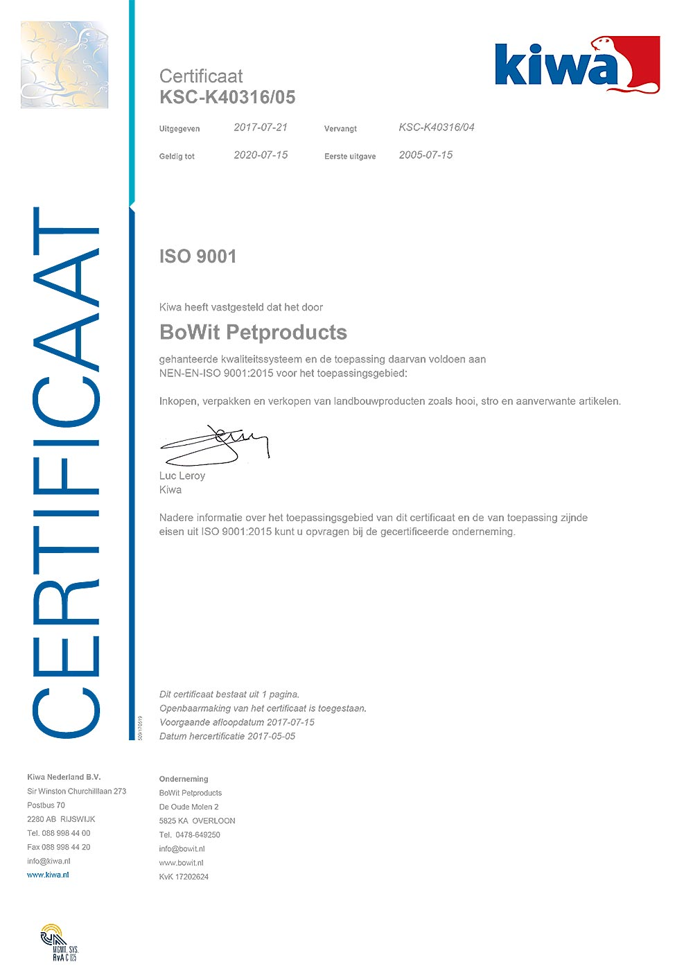 ISO 9001 BoWit Petproducts